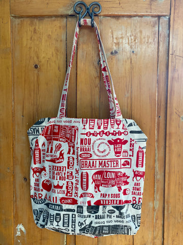 Shopper Bag. Braaimaster in Red and Grey on Stone