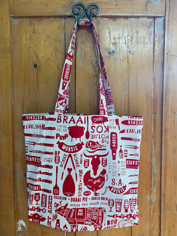 Shopper Bag. Braaimaster in Red on Stone