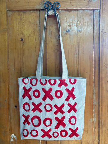 Shopper Bag. Hugs and Kisses in Red