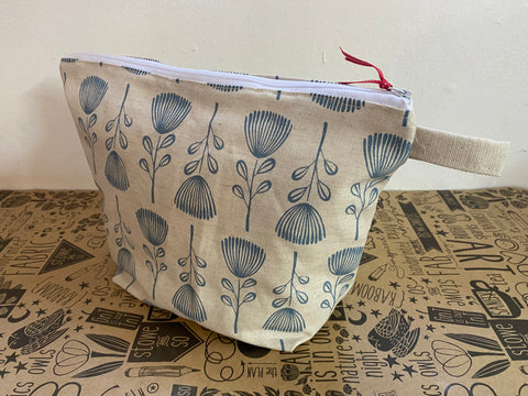 Stowe & so Oversized Toiletry/Cosmetic Bag. Pin Cushion Protea Dusty Blue