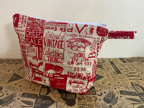 Stowe & so Oversized Toiletry/Cosmetic Bag. Bathurst Design in Red.