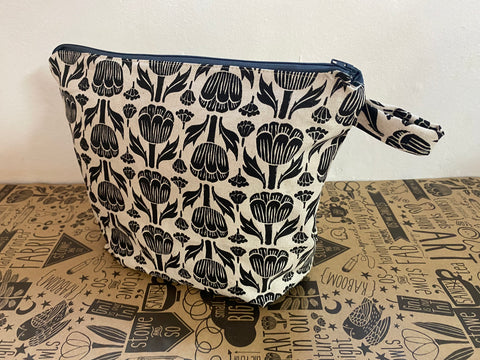 Stowe & so Oversized Toiletry/Cosmetic Bag. New Protea in Black
