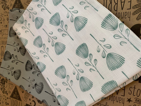 Stowe & So Tea Towel Set: Pin Cushion Protea. Set of Two. One Mint on White and one Charcoal on Mint