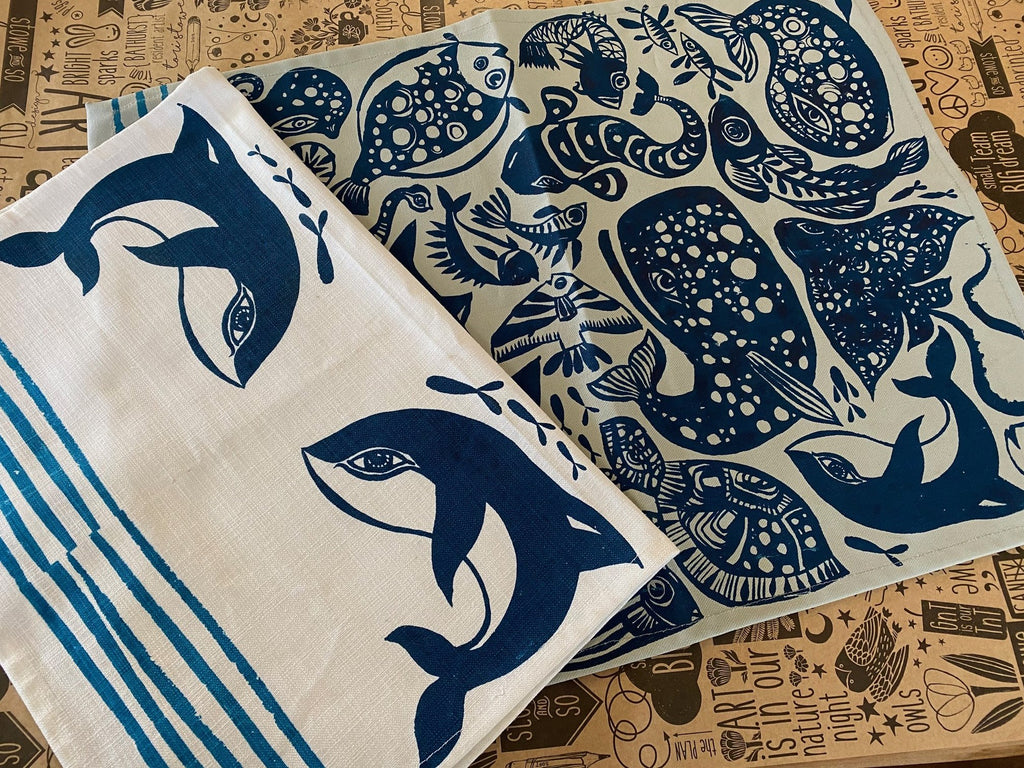 Stowe & So Tea Towel Set: Tea Towel Set Fishy Fish.