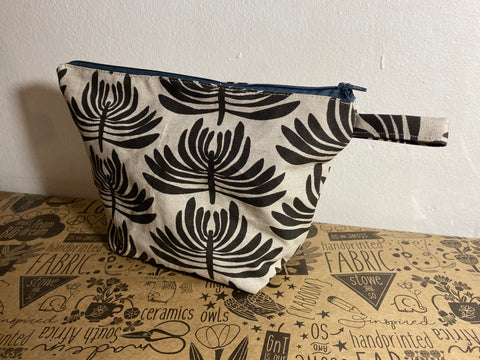 Stowe & so Oversized Toiletry/Cosmetic Bag. Euphorbia in Charcoal.