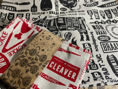 Stowe & so Tea Towel. Set of Two Braaimaster Lappies Red and Black.