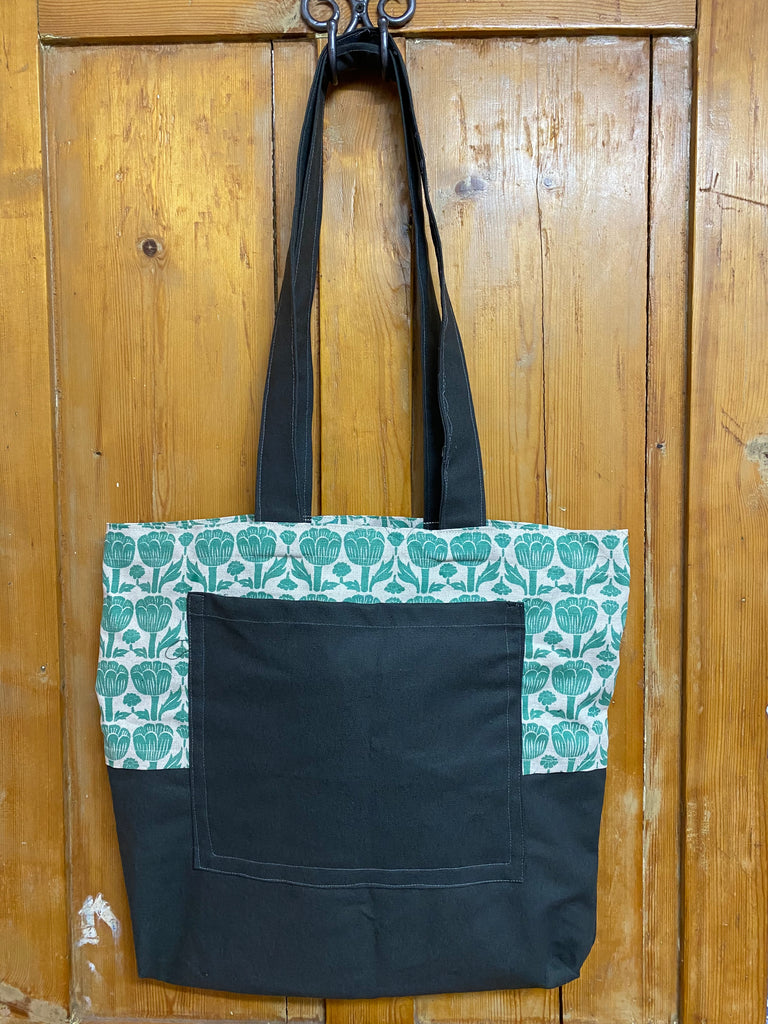 Shopper Bag. Poppy in Teal and Charcoal.