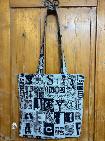 Shopper Bag. Letterset in Black on Sage.