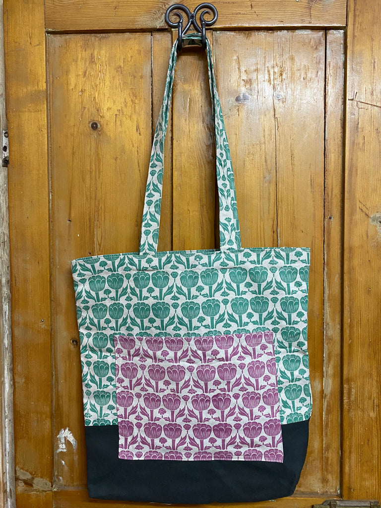 Shopper Bag. Poppy in Teal, Salmon and Charcoal.