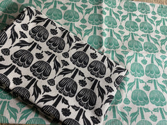 Stowe & So Tea Towel Set: Poppy in Teal and Black.