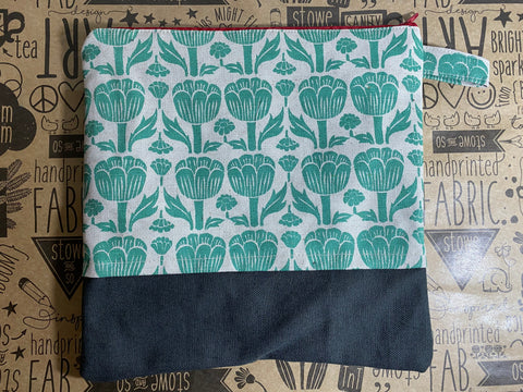 Stowe & so Large Pencil Case. Poppy in Teal with Charcoal.