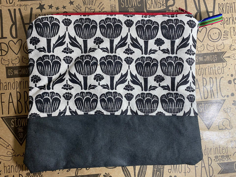Stowe & so Large Pencil Case. Poppy in Black with Charcoal.