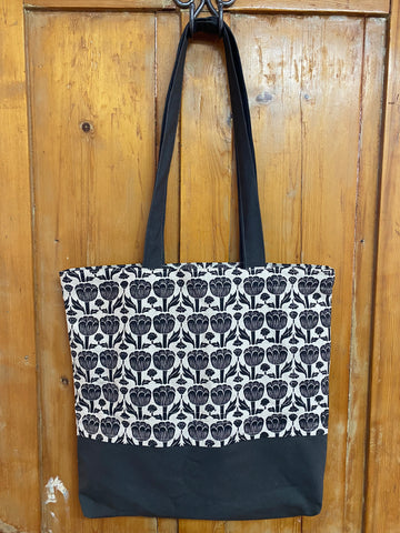 Shopper Bag. Poppy in Black and Charcoal.