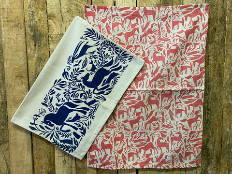 Stowe & So Tea Towel Set: Horses in Cobalt and Salmon.