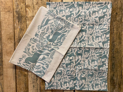 Stowe & So Tea Towel Set: Horses in Light Blue