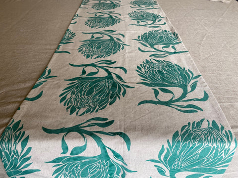 1.5m x 0.4m Stowe & so Runner. King Protea in Teal on Stone.
