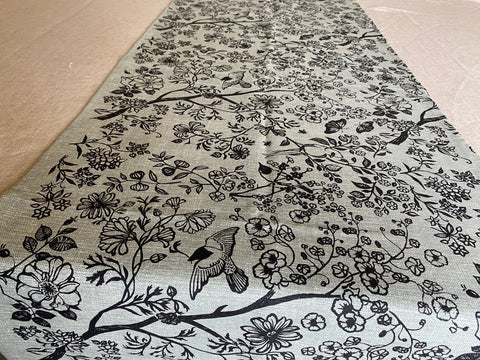 1.5m x 0.4m Stowe & so Runner. Garden in Charcoal on Grey.