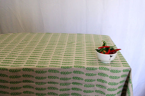 Stowe & so Table Cloth. Acacia Stripe Fern on Stone