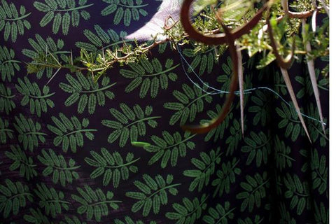 Stowe & so Table Cloth. Acacia Leaf Fern on Charcoal.