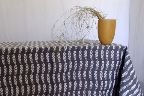 Stowe & so Table Cloth. Acacia Stripe Whitewash on Grey.