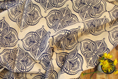 Stowe & so Table Cloth. Waterlily Cobalt on Stone.