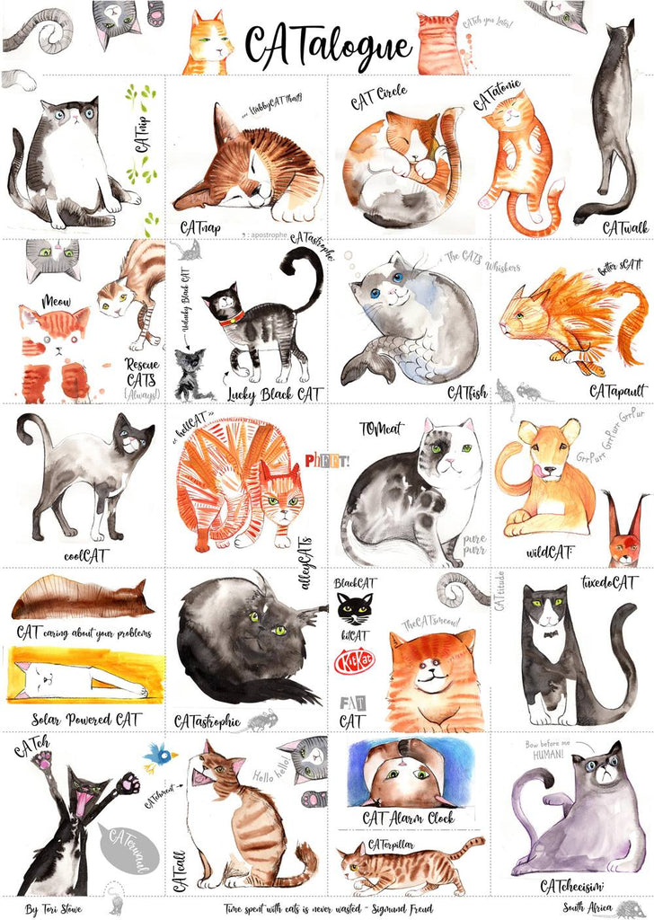 CATalogue: A poster of cats by Tori Stowe