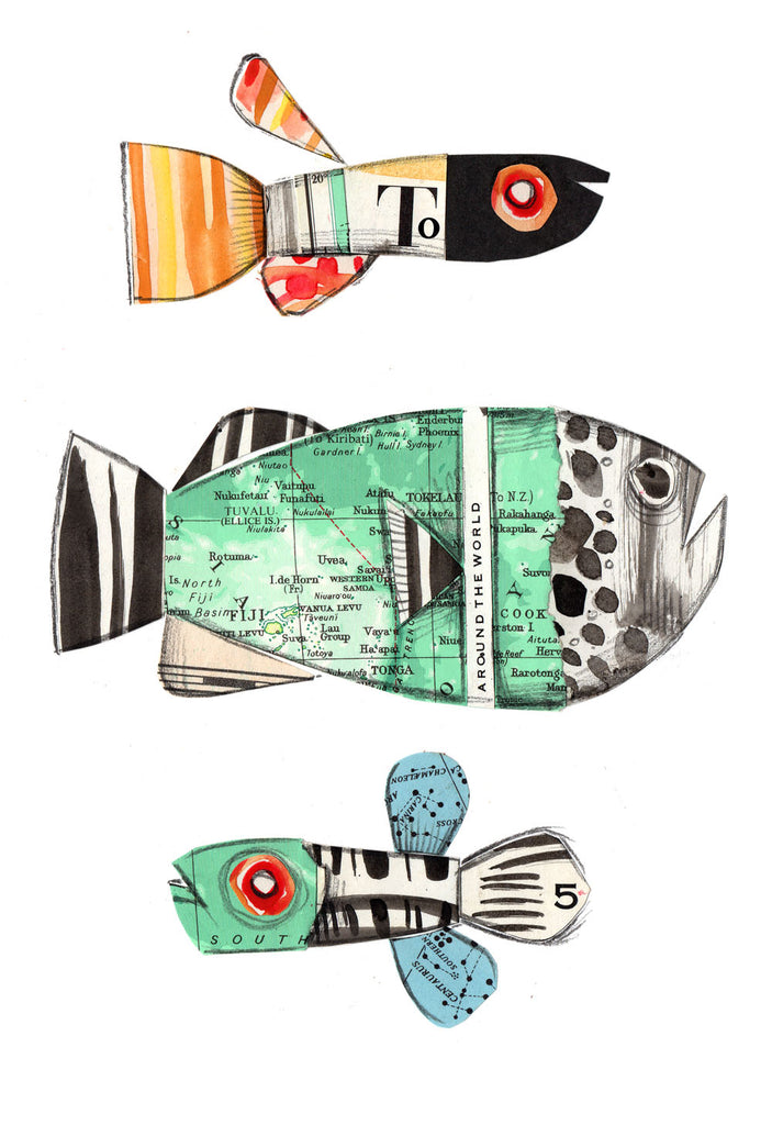 Tori Stowe A5 Art Prints: Fish Around The World