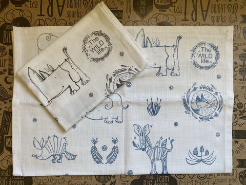 Stowe & So Tea Towel Set: The Wild Life. 1 Blue 1 Grey.