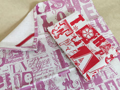 Stowe & So Tea Towel Set: Letterset Pinks