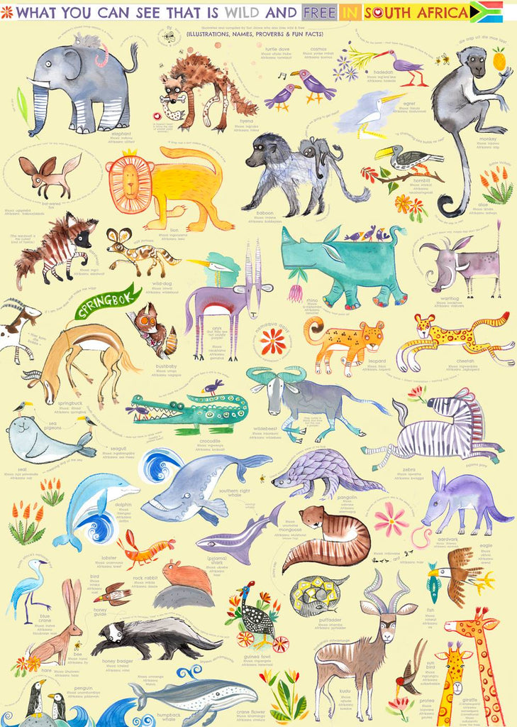 South African Wildlife Poster by Tori Stowe