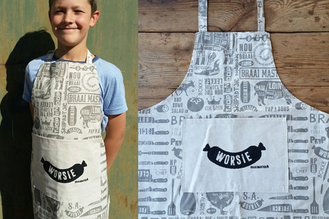 Braaimaster Apron. Worsie for the laaitie.