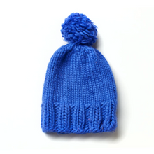 Load image into Gallery viewer, Hand knitted blue beanie