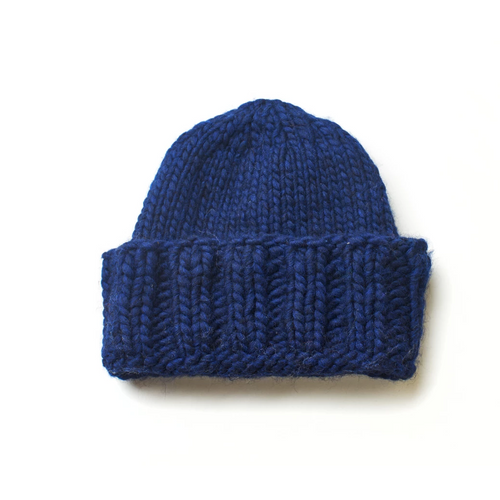 Hand knitted dark blue beanie