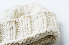 Load image into Gallery viewer, Hand knitted white beanie