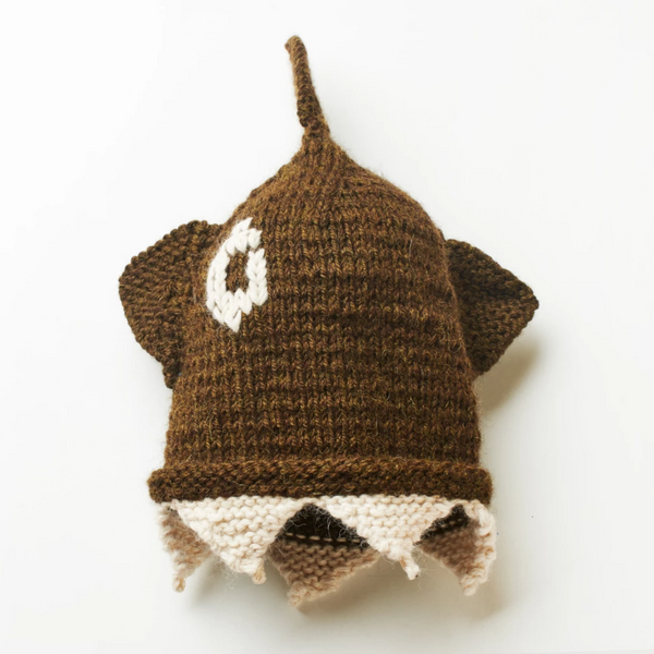 Brown & White One Eye Shark Beanie
