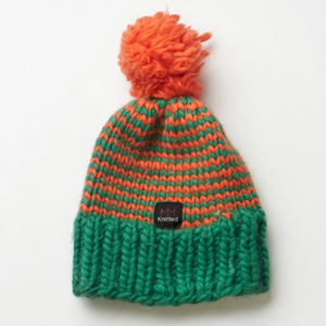 Hand knitted orange and green beanie
