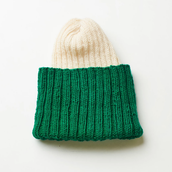 Hand knitted white and green beanie