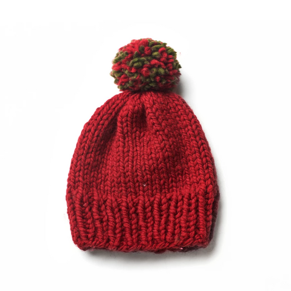 Red Beanie (with Red and Green Pompom)