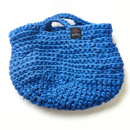 Hand knitted blue handbag