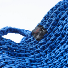 Load image into Gallery viewer, Hand knitted blue handbag