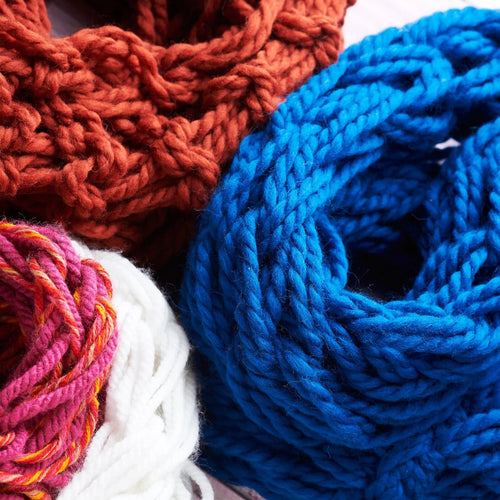 Pack of three hand knitted snoods