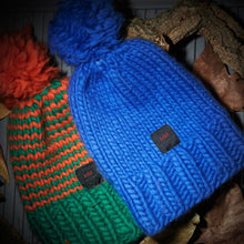 Load image into Gallery viewer, hand knitted pack of 2 beanies, orange & green and blue