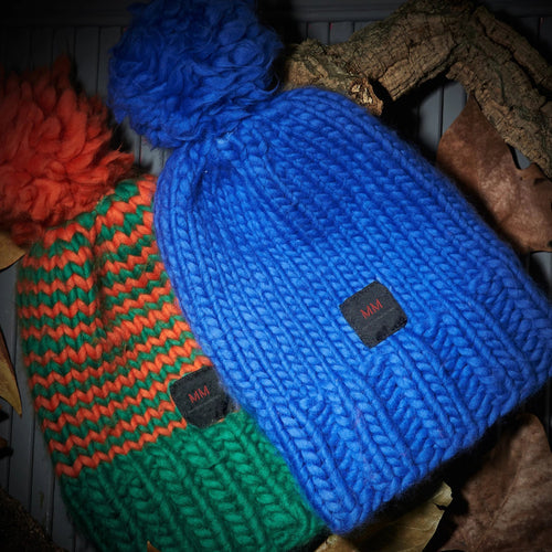 hand knitted pack of 2 beanies, orange & green and blue