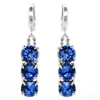 """Royalty In Blue"" Sterling Silver 925 Earrings by Royal Crystals"