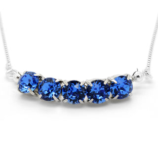"""Royalty In Blue"" Sterling Silver 925 Necklace by Royal Crystals"