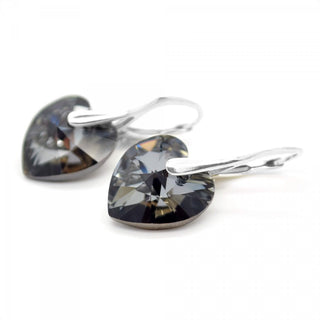 """Silver Night"" Heart Earrings by Royal Crystals"