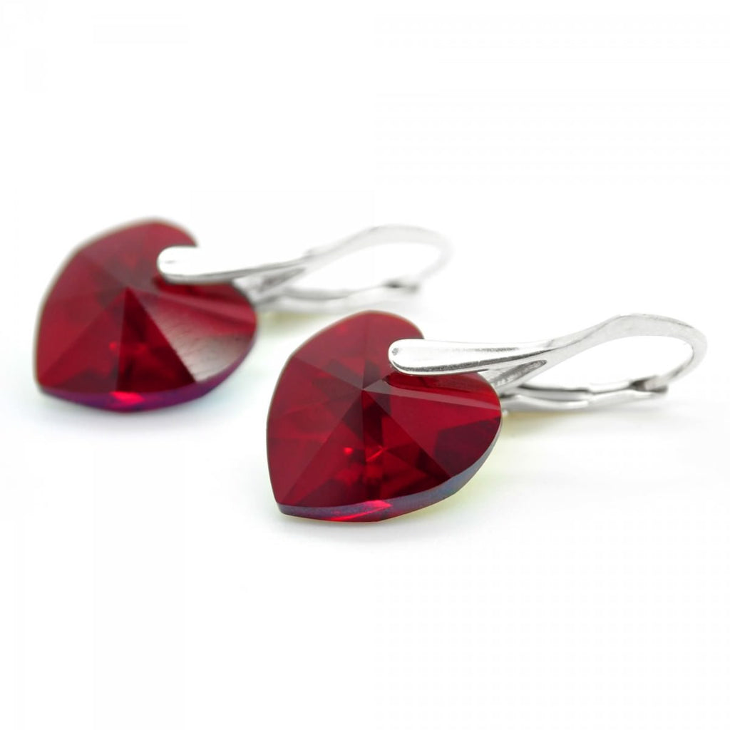 """Red Magma"" Heart Earrings by Royal Crystals"
