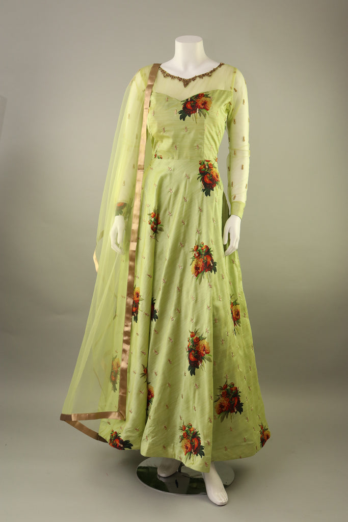 SEA GREEN FLORAL ANARKALI WITH SHEER NET EMBROIDERED NECKLINE