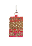 Hand Embellished Sequin and Mirror Embroidered Mobile Phone Pouch