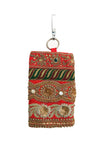 Red Hand Embellished Mobile Phone Pouch with Antique Gold Embroidery
